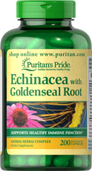 Echinacea with Goldenseal Root <p>Echinacea is one of the world's leading herbs for immune system support, while Goldenseal has a long history of traditional use.** Puritan's Pride Echinacea / Goldenseal Root is expertly blended so you receive a synergistic formula that reflects the best Mother Nature has to offer.</p><ul><li>Puritan's Pride's Guarantee: We use only the finest quality herbs and spices. Each is screened and finely milled for quick release.  &l