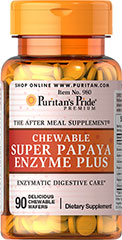 Chewable Super Papaya Enzyme Plus <p>These delicious tablets are made from 100% natural ingredients in a base containing peppermint and chlorophyll (for refreshing taste and sweet breath).</p> <p>Papain is a proteolytic enzyme and a popular ingredient in dietary supplements used for digestion.**</p> <p> Taken after meals, it is a perfect natural supplement that may assist in digestion. **</p>  90 Chewables  $6.99