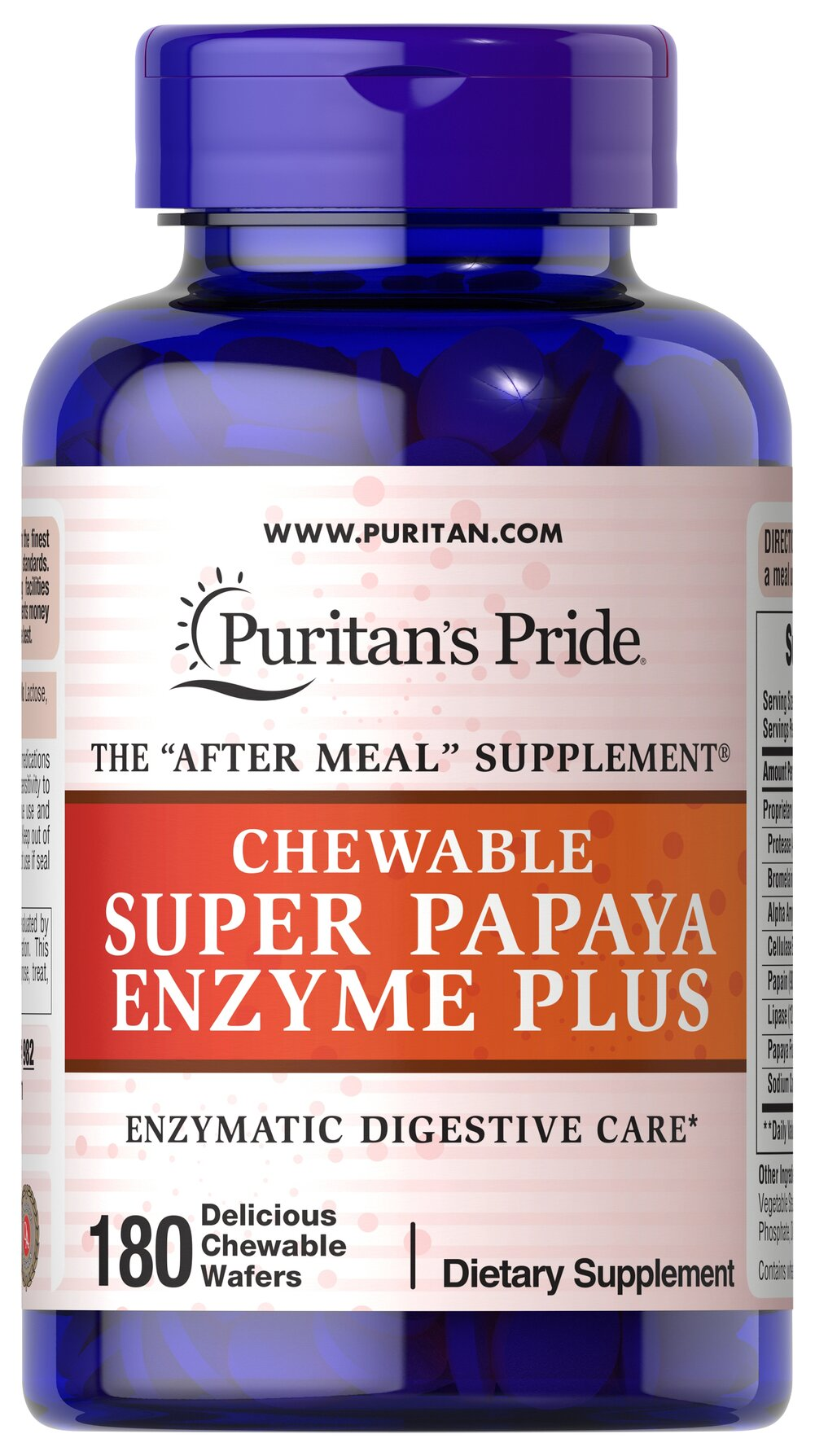 Chewable Super Papaya Enzyme Plus <p>These delicious tablets are made from 100% natural ingredients in a base containing peppermint and chlorophyll (for refreshing taste and sweet breath).</p><p>Papain is a proteolytic enzyme and a popular ingredient in dietary supplements used for digestion.**</p><p>Taken after meals, it is a perfect natural supplement that may assist in digestion. **</p> 180 Chewables  $14.39