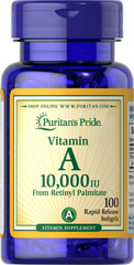 Vitamin A 10,000 IU <p>Vitamin A is an essential supplement that helps maintain the health of eyes. **</p><p>Also helps maintain the skin. **</p><p>Helps maintain the health of hair. **</p><p>Assists in maintaining a healthy immune system.**</p> 100 Softgels 10000 IU $3.99