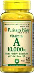 Vitamin A 10,000 IU <p>Vitamin A is an essential supplement that helps maintain the health of eyes. **</p><p>Also helps maintain the skin. **</p><p>Helps maintain the health of hair. **</p><p>Assists in maintaining a healthy immune system.**</p> 250 Softgels 10000 IU $8.99