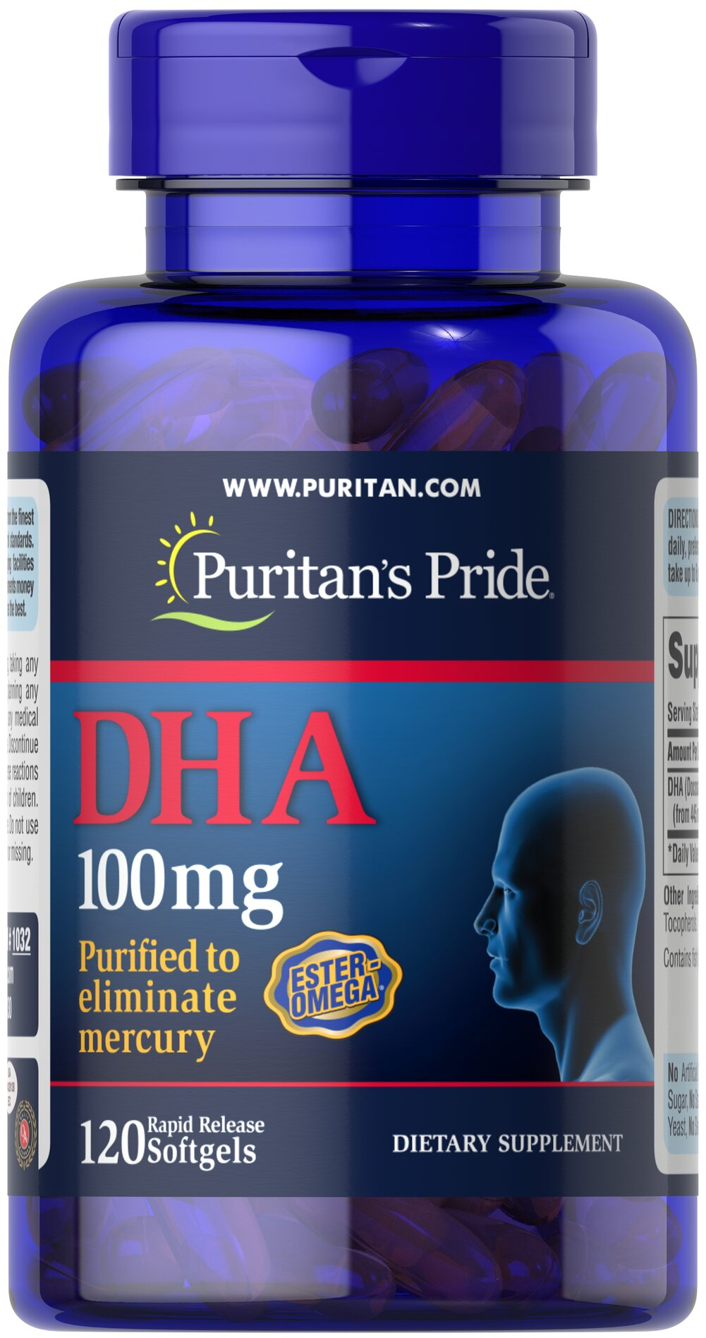 DHA 100 mg <p>DHA (Docosahexaenoic Acid) is an important Omega-3 fatty acid.</p><p>These softgels are made with Ester Omega™, a highly concentrated and purified Omega-3 fish oil selected from the finest deep sea, cold water fish. </p><p>Ester Omega™ is scientifically formulated in an antioxidant matrix to enhance potency. </p> <p>Ester Omega™ provides superior absorption of Omega-3 fatty acids – like DHA – by the body. </p><p>These rapid rele