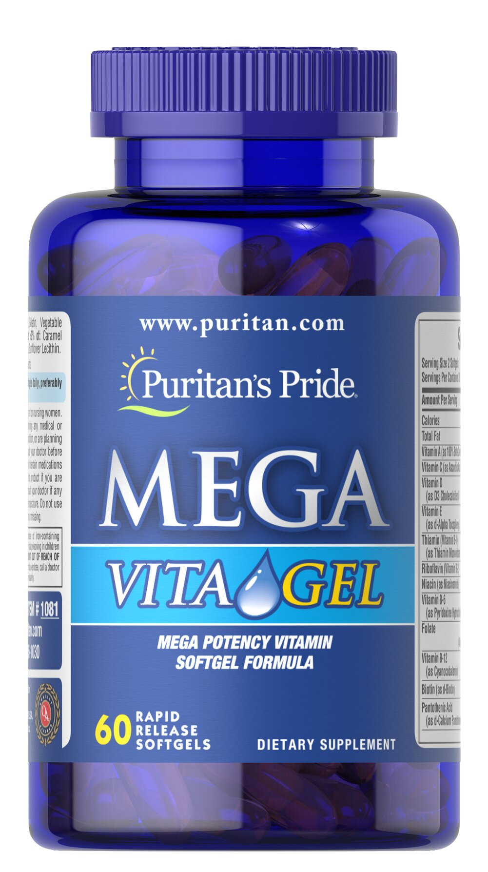 Mega Vita Gel Multivitamins <p>Mega Vita Gel is an exclusive vitamin and mineral formula. Each softgel contains 36 important nutrients without sugar, starch, artificial flavors or preservatives!  Adults can take two softgels daily with a meal.</p> 60 Softgels