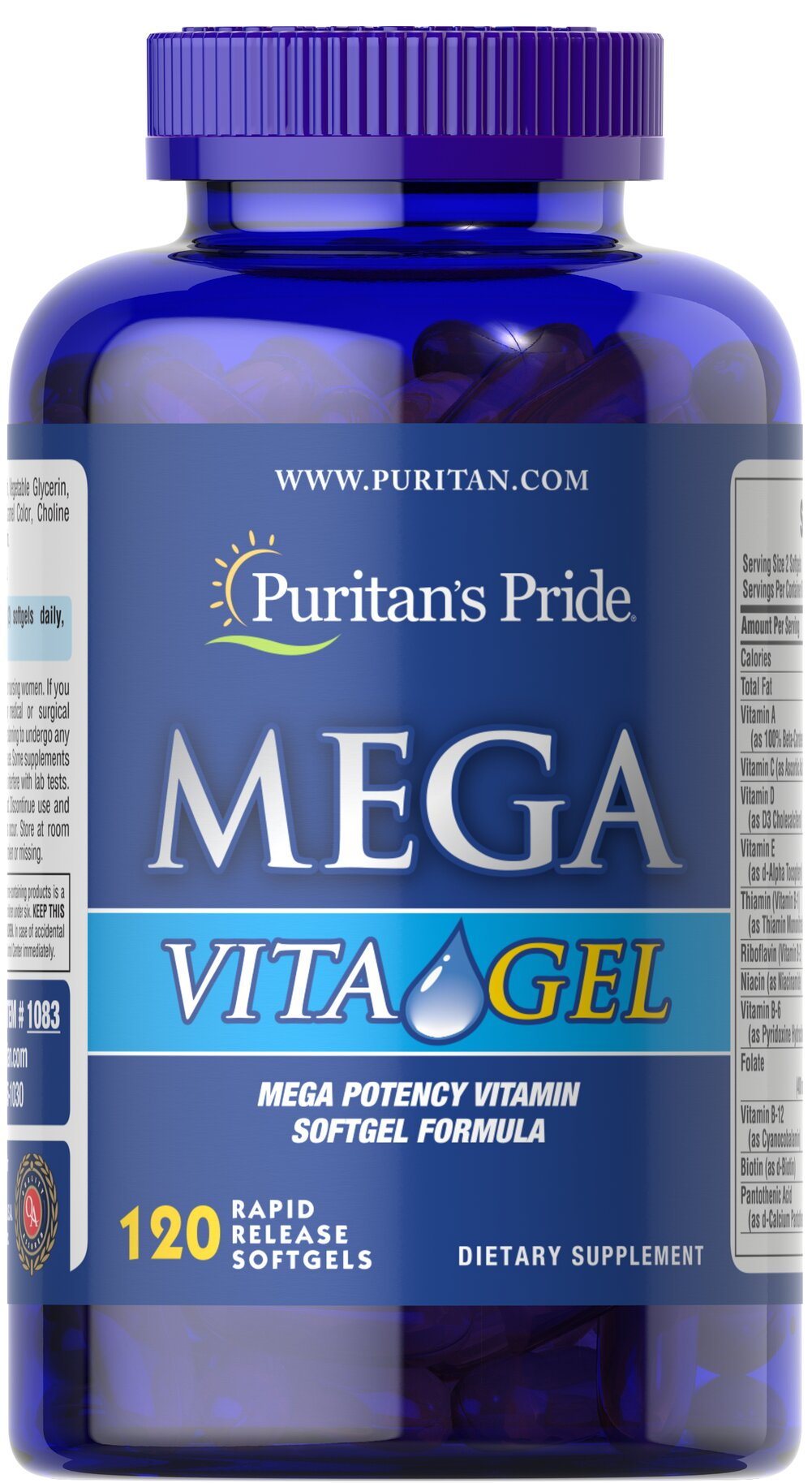 Mega Vita Gel Multivitamins <p>Mega Vital Gel is an exclusive vitamin and mineral formula. Each softgel contains 36 important nutrients without sugar, starch, artificial flavors or preservatives!  Adults can take two softgels daily with a meal.</p> 120 Softgels