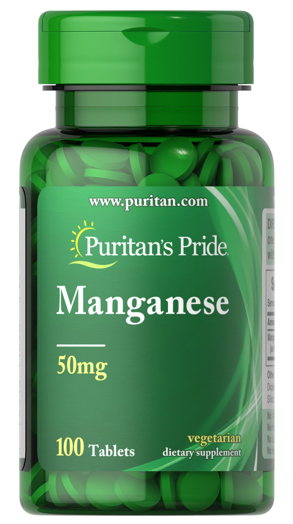 Manganese 50 mg <p>Manganese is a mineral that activates many enzymes in the body and aids in the utilization of fat.  Each tablet contains (50 mg) from manganese gluconate.</p> 100 Tablets 50 mg $9.29