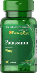 Potassium 99 mg <p></p>Potassium is an essential mineral needed by the body for overall well being.** This important mineral works with sodium to help you maintain normal body fluid balance.** Potassium is also essential for muscle activity. And, Potassium aids in mineral balance of the blood.**<p></p> 100 Caplets 99 mg $6.99