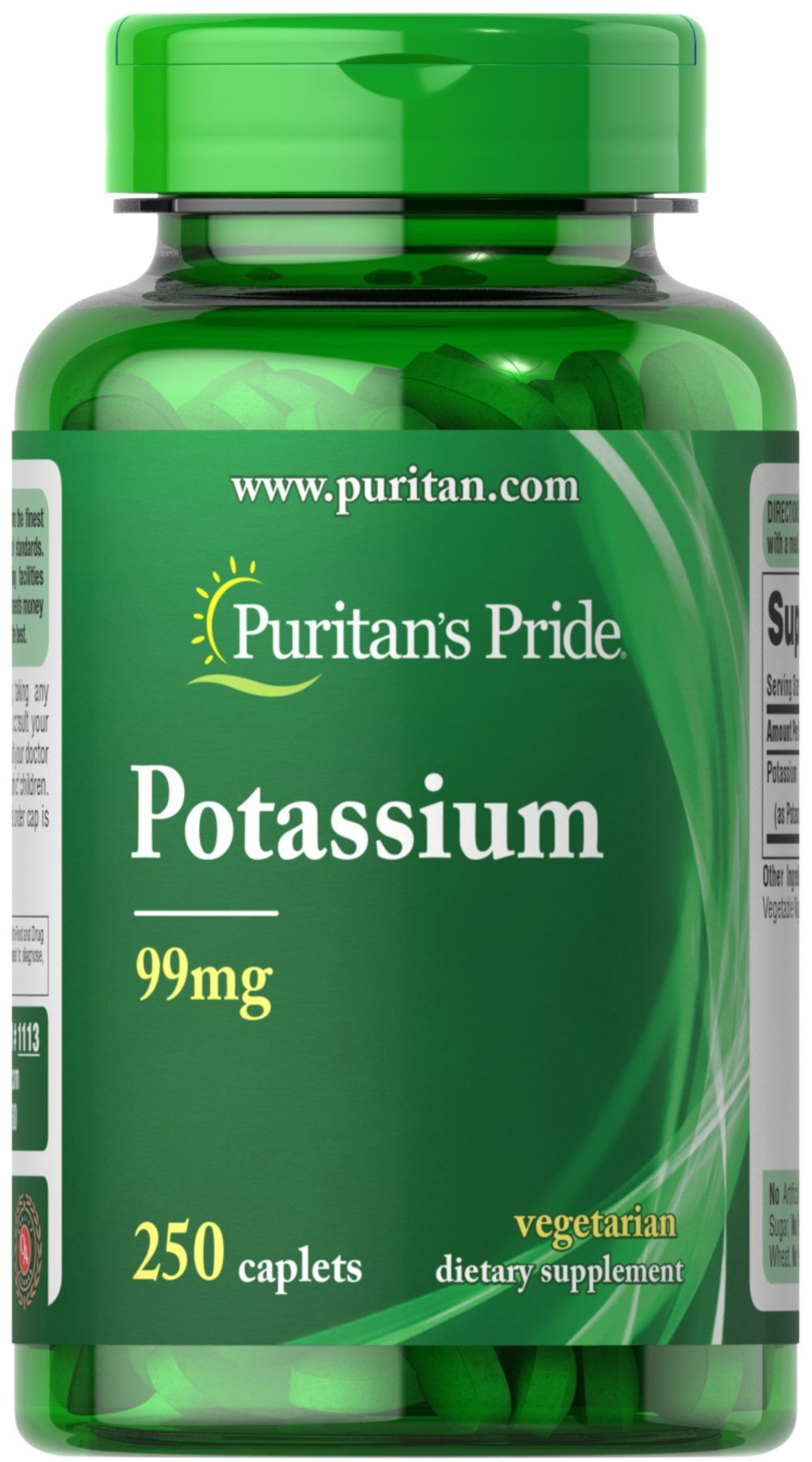 Potassium 99 mg <p></p>Potassium is an essential mineral needed by the body for overall well being.** This important mineral works with sodium to help you maintain normal body fluid balance.** Potassium is also essential for muscle activity. And, Potassium aids in mineral balance of the blood.**<p></p><p></p> 250 Caplets 99 mg $13.99