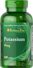"Potassium Chelate 99 mg <p>Works with sodium to regulate the body's water balance. </p><p> Helps attract nutrients into cells and required for carbohydrate and protein metabolism. </p><p>  ""Chelated"" for maximum absorption**</p> 500 Caplets 99 mg $21.99"