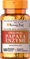 Papaya Enzyme <p>THE AFTER MEAL SUPPLEMENT®</p><p>Each pleasantly small, delicious, chewable fruit flavored Papaya tablet contains the enzyme papain.  Starch- & preservative-free!</p> 100 Chewables  $6.49