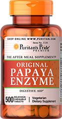 Papaya Enzyme Chewable <p>THE AFTER MEAL SUPPLEMENT®</p><p>Each pleasantly small, delicious, chewable fruit flavored Papaya tablet contains the enzyme papain.  Starch- & preservative-free!</p> 500 Chewables  $24.99