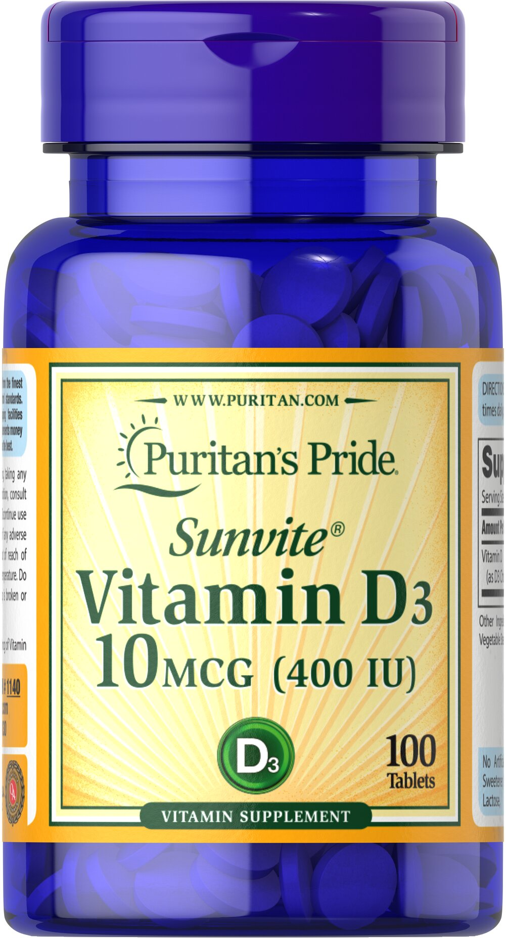 Vitamin D3 400 IU <ul><li> Supports Bone and Immune System Health**</li><li>Vitamin D3 is a more potent and bioavailable form compared to D2.<br /></li><li> As an essential nutrient, Vitamin D is important for optimal health.** </li><li>Vitamin D assists Calcium in bone maintenance and plays a role in immune system health.**</li></ul> 100 Tablets 400 IU $6.49