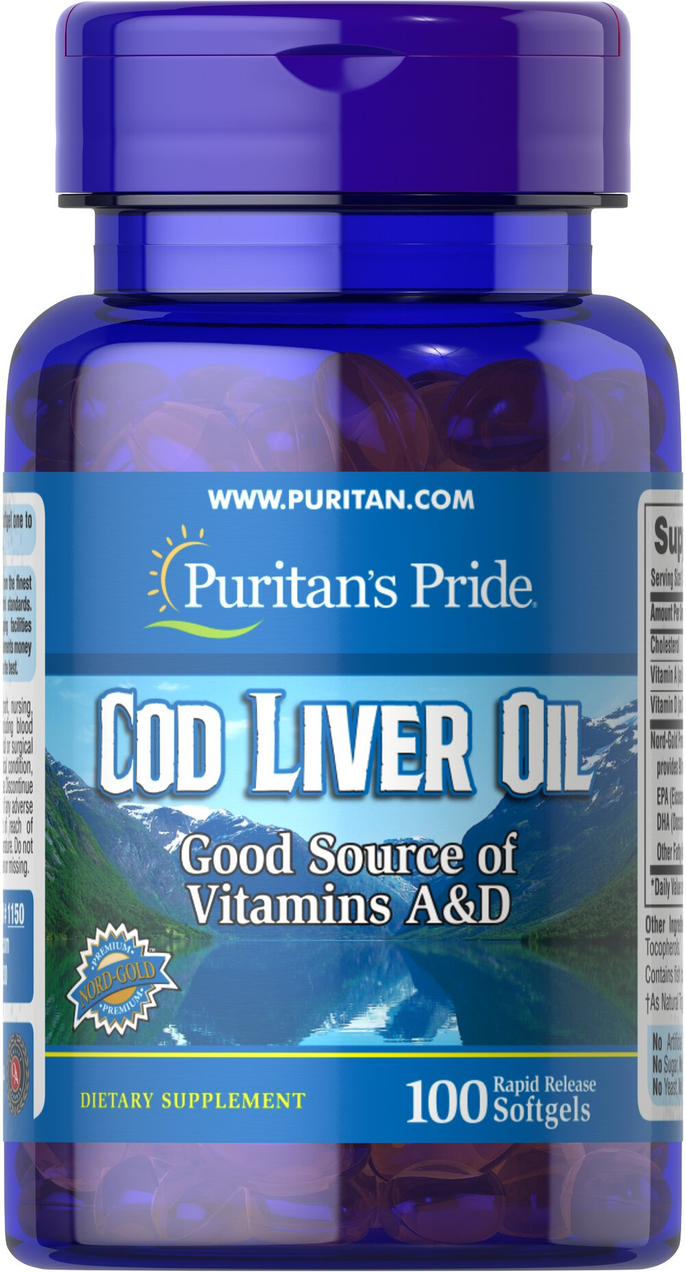 Norwegian Cod Liver Oil 415 mg <p>Norwegian cod has traditionally been one of the most popular natural sources of  <strong>both Vitamins A & D</strong>. </p><p>Vitamin D helps maintain healthy bones in adults. ** </p><p>Vitamin A helps maintain eye health. **</p><p>Vitamins A & D help regulate the immune system.**</p> 100 Softgels 415 mg $5.99