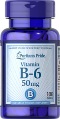 Vitamin B-6 (Pyridoxine Hydrochloride) 50 mg <p><strong>Vitamin B-6</strong> plays a role in protein and energy metabolism and assists in the metabolism of homocysteine, an amino acid.** Vitamin B-6 is also part of a triad of vitamins — along with Folic Acid and Vitamin B-12 — that support heart health.**</p> 100 Tablets 50 mg $6.69