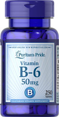 Vitamin B-6 (Pyridoxine Hydrochloride) 50 mg <p><b>Vitamin B-6</b> plays a role in protein and energy metabolism and assists in the metabolism of homocysteine, an amino acid.** Vitamin B-6 is also part of a triad of vitamins — along with Folic Acid and Vitamin B-12 — that support heart health.**</p> 250 Tablets 50 mg $14.39