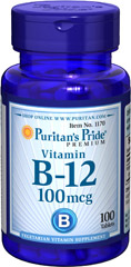Vitamin B-12 100 mcg <p>Our B-12 Ener-B® formula delivers essential <strong>B vitamins</strong> for energy metabolism in the body.**<strong>Vitamin B-12</strong> is also essential for the normal formation of blood cells, contributes to the health of the nervous system, and helps maintain circulatory health.** Adults can take one tablet daily with a meal.</p> 100 Tablets 100 mcg $6.29