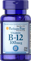 Vitamin B-12 100 mcg <p>Our B-12 Ener-B® formula delivers essential <b>B vitamins</b> for energy metabolism in the body.**<b>Vitamin B-12</b> is also essential for the normal formation of blood cells, contributes to the health of the nervous system, and helps maintain circulatory health.** Adults can take one tablet daily with a meal.</p> 250 Tablets 100 mcg $9.99