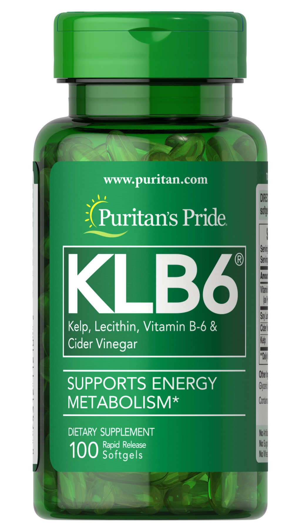 Natural KLB6® <p>Kelp, Lecithin,  Vitamin B-6 and Cider Vinegar,  all-in-one softgel.  Kelp works to maintain a healthy thyroid; Lecithin is an excellent natural source of choline and inositol; B-6 functions as a coenzyme involved in protein and fat metabolism; and Cider Vinegar is a natural and rich source of potassium and other associated minerals.**</p> 100 Softgels  $8.99