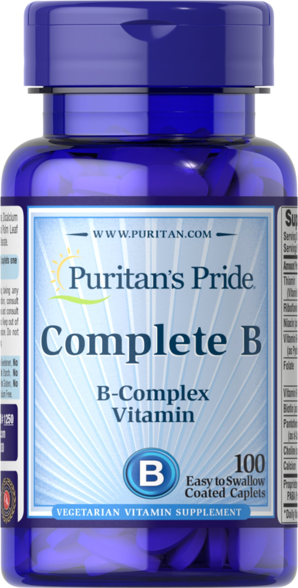 Complete B (Vitamin B Complex) <p>Complete Vitamin B Complex provides seven important B vitamins in just two caplets without sugar, starch, artificial colors or flavors. You get the entire B family in this sodium-free tablet the best B vitamin nutrition you can buy! Complete B can give you the peace of mind you deserve.</p> 100 Caplets  $2.24