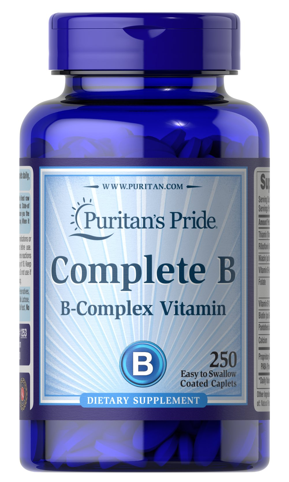 Complete B (Vitamin B Complex) <p>Complete Vitamin B Complex provides seven important B vitamins in just two caplets without sugar, starch, artificial colors or flavors. You get the entire B family in this sodium-free tablet the best B vitamin nutrition you can buy! Complete B can give you the peace of mind you deserve.</p> 250 Caplets  $22.38