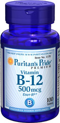 Vitamin B-12 500 mcg <p>Our B-12 Ener-B® formula delivers essential <strong>B vitamins</strong> for energy metabolism in the body.**<strong>Vitamin B-12</strong> is also essential for the normal formation of blood cells, contributes to the health of the nervous system, and helps maintain circulatory health.** Adults can take one tablet daily with a meal.</p> 100 Tablets 500 mcg $5.49