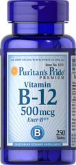 Vitamin B-12 500 mcg <p>Our B-12 Ener-B® formula delivers essential <b>B vitamins</b> for energy metabolism in the body.**<b>Vitamin B-12</b> is also essential for the normal formation of blood cells, contributes to the health of the nervous system, and helps maintain circulatory health.** Adults can take one tablet daily with a meal.</p> 250 Tablets 500 mcg $10.99