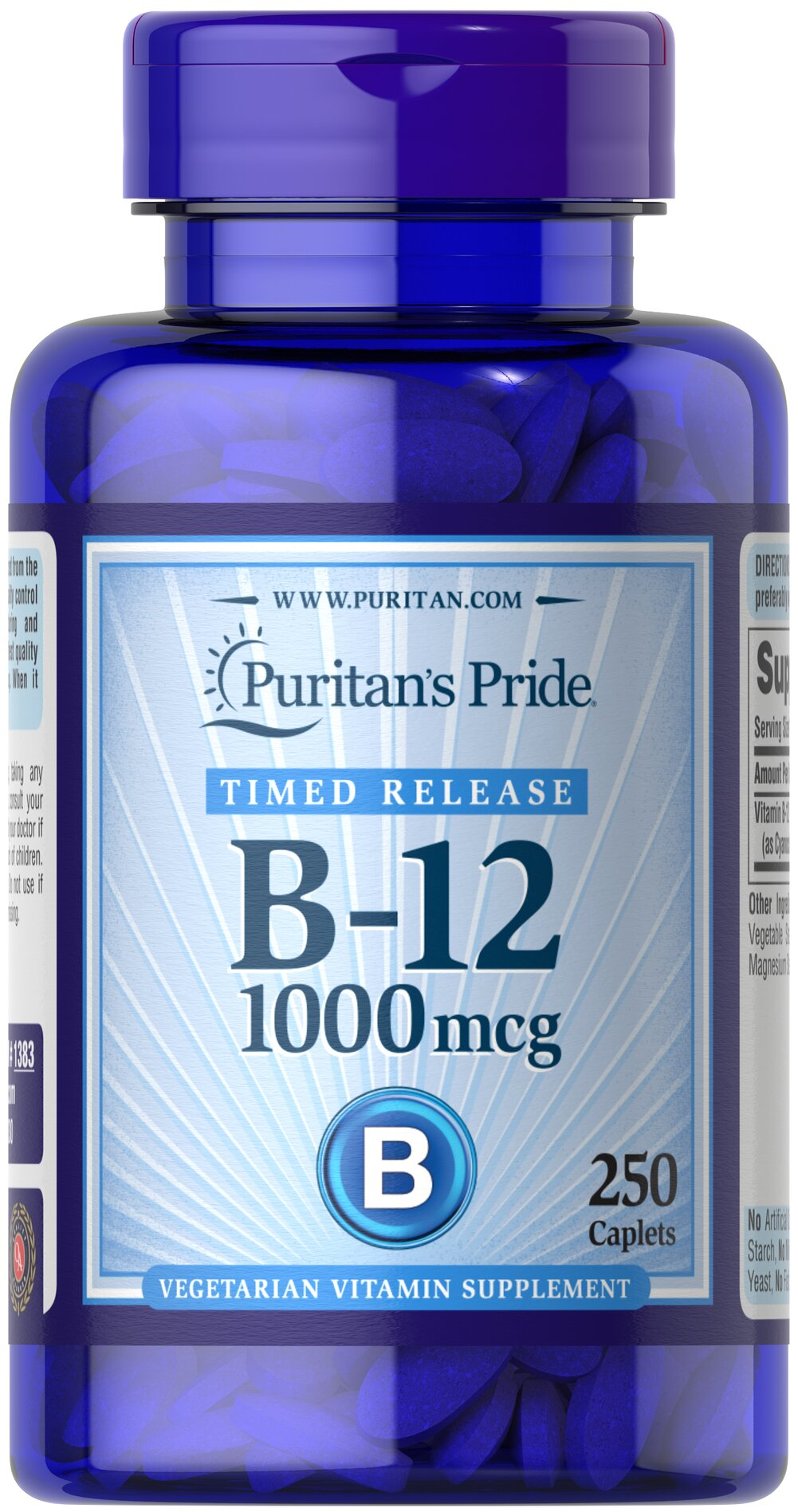 "Vitamin B-12 1000 mcg Timed Release <p>Our B-12 formula delivers essential <strong>B vitamins</strong> for energy metabolism in the body.**<strong>Vitamin B-12</strong> is also essential for the normal formation of blood cells, contributes to the health of the nervous system, and helps maintain circulatory health.** B-12 also plays a role in keeping your gums and mouth healthy<span style=""font-size:12.0pt;font-family:Cambria;"">.** </span>    Go"