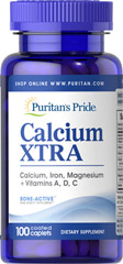 Calcium Xtra <p>Calcium is essential for building healthy bones and teeth.**  To be sure you are getting enough calcium, try Calcium Xtra tablets.  You get natural calcium plus added vitamins (vitamins A, C and D) and minerals (Iron and Magnesium) that work synergistically to give you maximum nutritional protection - in a NEW faster-acting formula.</p> 100 Caplets  $7.99