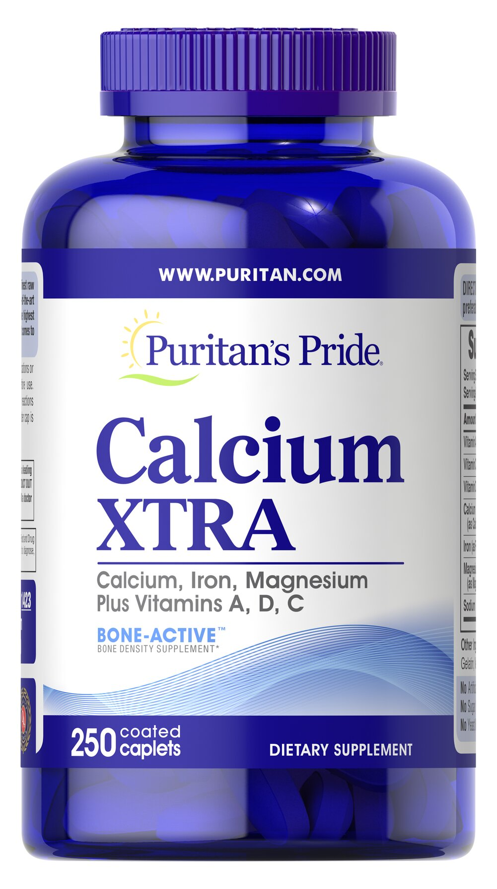 Calcium Xtra <p>Calcium is essential for building healthy bones and teeth.**  To be sure you are getting enough calcium, try Calcium Xtra tablets.  You get natural calcium plus added vitamins (vitamins A, C and D) and minerals (Iron and Magnesium) that work synergistically to give you maximum nutritional protection - in a NEW faster-acting formula.</p> 250 Caplets  $20.99