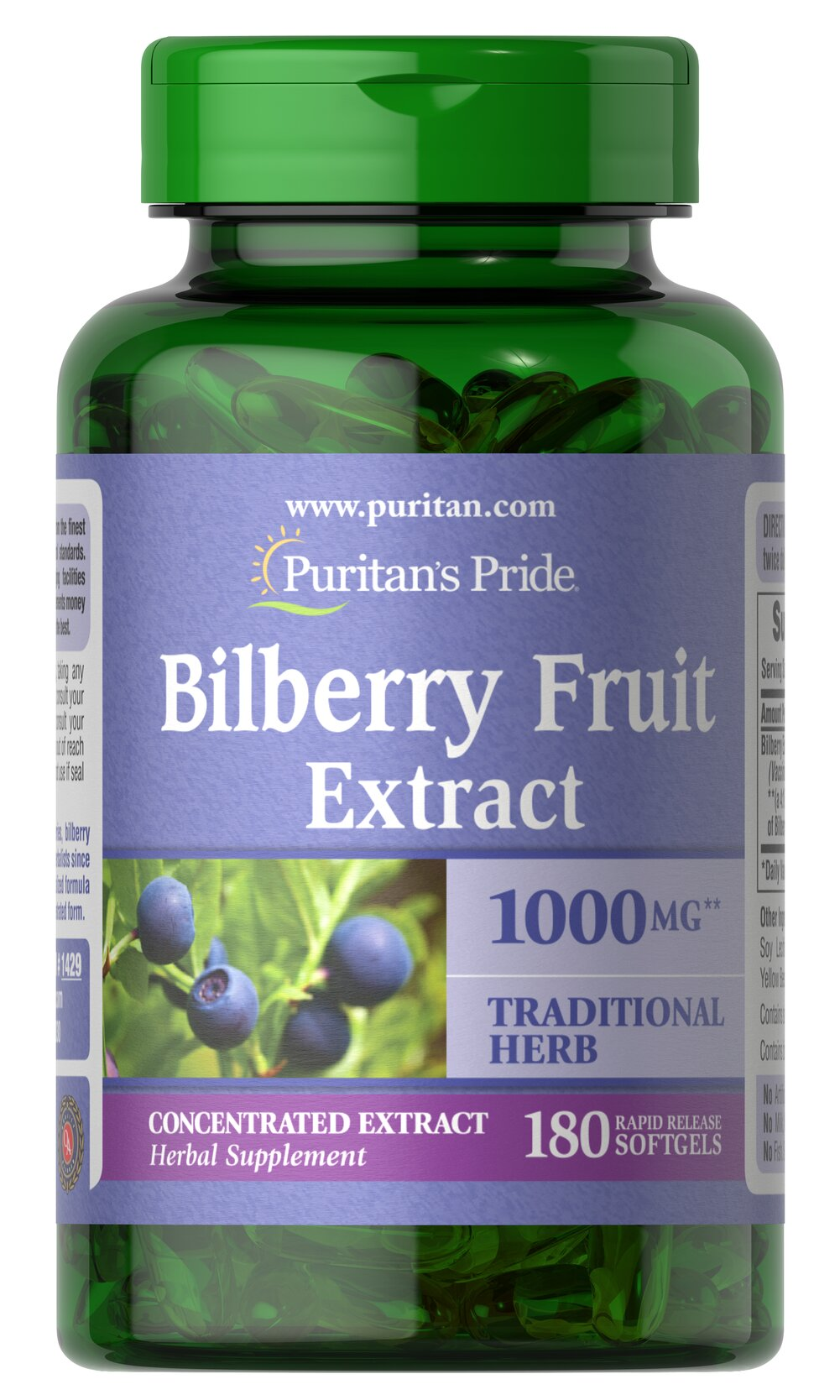 Bilberry 1000 mg <p>Bilberry has been widely known to herbalists since the 16th century. This close relative of blueberries contains over 15 different naturally-occurring anthocyanosides (flavonoids) that contain beneficial antioxidant properties.** Our Bilberry delivers 1000 mg (from 250 mg of 4:1 extract). Adults can take one (1) softgel once or twice daily, preferably with a meal.</p> 180 Softgels 1000 mg $17.99