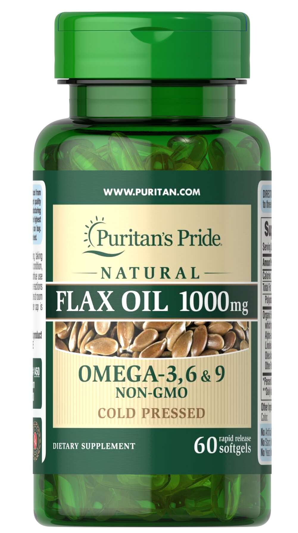 Natural Flax Oil 1000 mg <p>Flaxseed — one of the most concentrated vegetarian source of <strong>Omega-3 fatty acids</strong> found in nature — contributes to heart and while providing an energy source for the body.** Our high-quality natural <strong>Flax Seed Oil</strong> is dispensed and processed without solvents, under a nitrogen blanket and special yellow lights, then encased in a protective amber-colored gelatin shell to retain its integrity.</p> 60 Soft