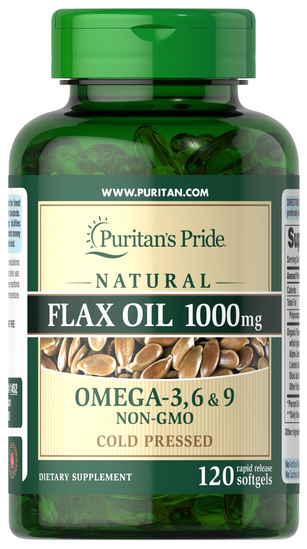 Natural Flax Oil 1000 mg <p>Flaxseed — one of the most concentrated vegetarian source of <strong>Omega-3 fatty acids</strong> found in nature — contributes to heart and while providing an energy source for the body.** Our high-quality natural <strong>Flax Seed Oil</strong> is dispensed and processed without solvents, under a nitrogen blanket and special yellow lights, then encased in a protective amber-colored gelatin shell to retain its integrity.</p> 120 Sof
