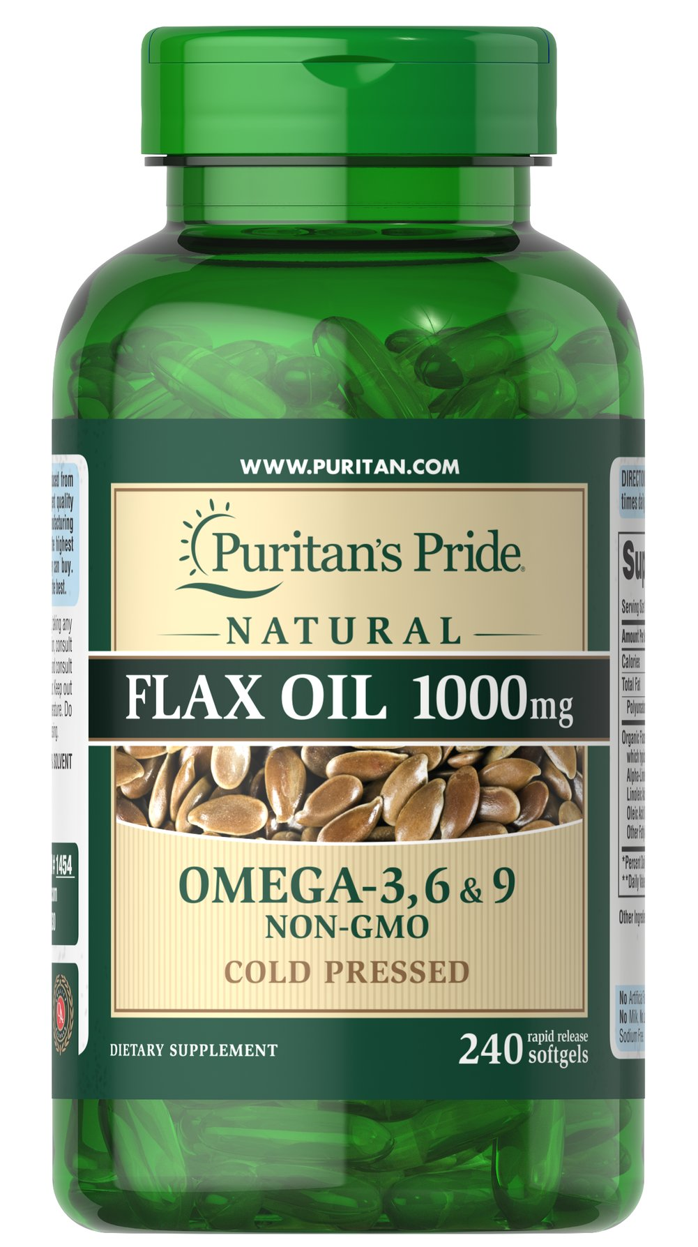 Natural Flax Oil 1000 mg <p>Flaxseed — one of the most concentrated vegetarian source of <strong>Omega-3 fatty acids</strong> found in nature — contributes to heart and while providing an energy source for the body.** Our high-quality natural <strong>Flax Seed Oil</strong> is dispensed and processed without solvents, under a nitrogen blanket and special yellow lights, then encased in a protective amber-colored gelatin shell to retain its integrity.</p> 240 Sof