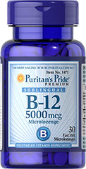 Vitamin B-12 5000 mcg Sublingual <p>Puritan's Pride's unique B-12  lozenges and dots deliver essential B vitamins for energy metabolism in the body.** Vitamin B-12 is also essential for the normal formation of blood cells, contributes to the health of the nervous system, and helps maintain circulatory health.** Adults can take one lozenge or dot daily with a meal. Place lozenge or dot under tongue for 30 seconds before swallowing.</p> 30 Microlozenges 5000 mcg $10.29