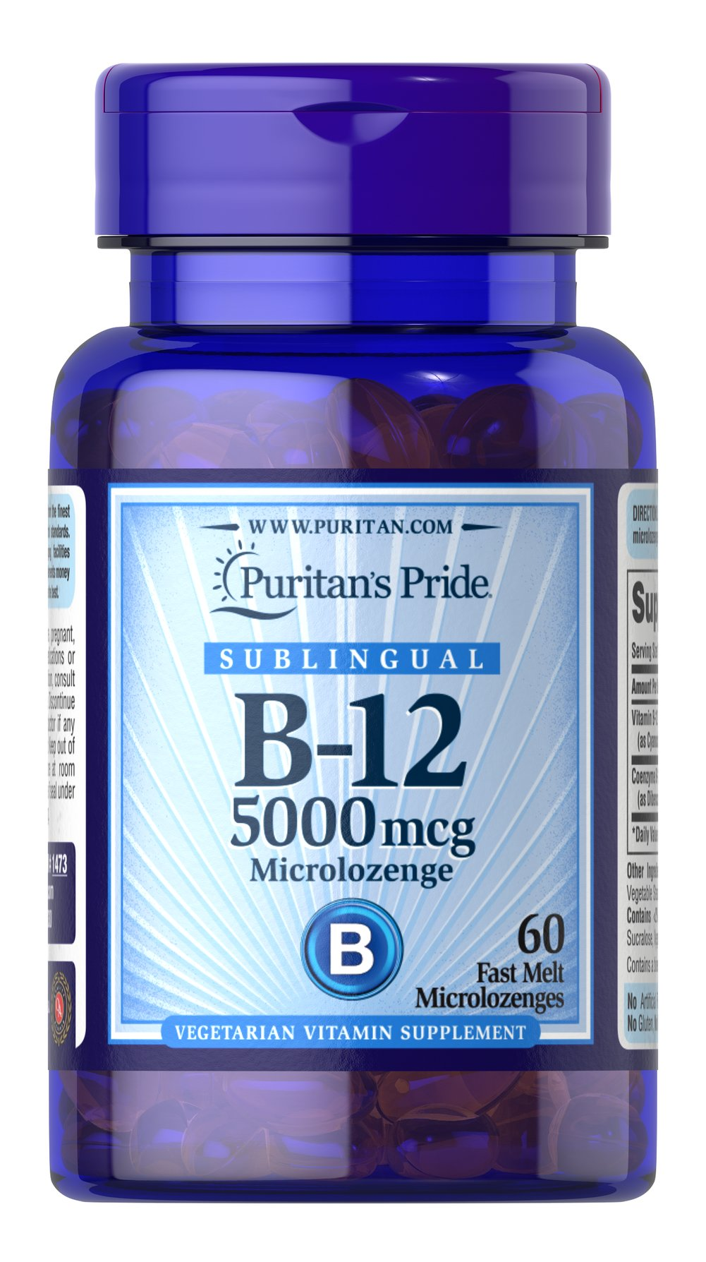 Vitamin B-12 5000 mcg Sublingual <p>Puritan's Pride's unique B-12  lozenges and dots deliver essential B vitamins for energy metabolism in the body.** Vitamin B-12 is also essential for the normal formation of blood cells, contributes to the health of the nervous system, and helps maintain circulatory health.** Adults can take one lozenge or dot daily with a meal. Place lozenge or dot under tongue for 30 seconds before swallowing.</p> 60 Microlozenges 5000 mcg $21.99
