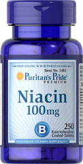 Niacin 100 mg <p>Supports Energy Metabolism and Nervous System Health** </p><p>Niacin is a B-Vitamin that is part of a coenzyme needed for energy metabolism.** Niacin helps maintain healthy functions of the nervous system and skin.**</p> 250 Tablets 100 mg $11.99