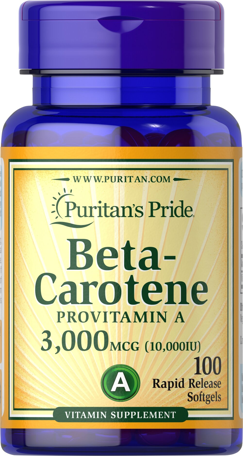 Beta-Carotene 10,000 IU <p>Found in a variety of fruits and vegetables, this provitamin A, is famous for giving carrots a rich orange color.</p><p>Readily converts to Vitamin A in the system when needed.**</p><p>Helps maintain the health of eyes.**</p><p>Supports the immune system.**</p><p>Provides antioxidant benefits for the heart and other organs.**</p><p>Helps maintain the skin and health of hair. **</p>  100 Softgels 10