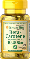 Beta-Carotene 10,000 IU <p>Found in a variety of fruits and vegetables, this provitamin A, is famous for giving carrots a rich orange color.</p><p>Readily converts to Vitamin A in the system when needed.**</p><p>Helps maintain the health of eyes.**</p><p>Supports the immune system.**</p><p>Provides antioxidant benefits for the heart and other organs.**</p><p>Helps maintain the skin and health of hair. **</p>  250 Softgels 10