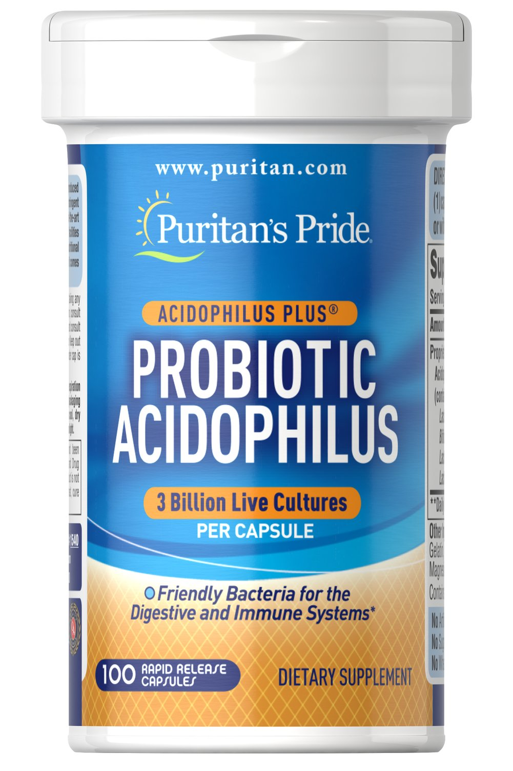 Probiotic Acidophilus with Pectin <p><strong>Supports intestinal health for the optimal absorption of nutrients**</strong></p><p>Guaranteed to provide three billion live cells per capsule at the time of manufacture.</p><p>Includes Acidophilus to support favorable environment for nutrients.</p><p>Encourages intestinal microflora balance**</p><p>Promotes healthy functioning of intestinal system.**</p> 100 Capsules 3 billion $1