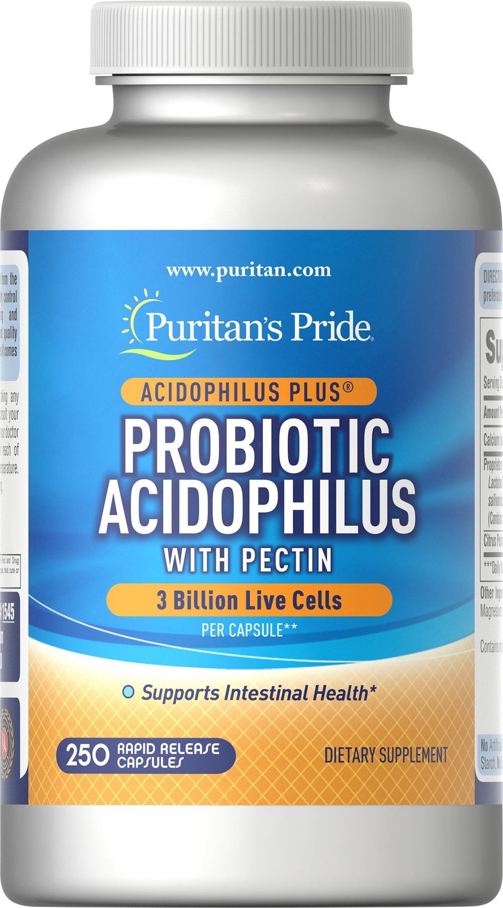 Probiotic Acidophilus with Pectin <p><strong>Supports intestinal health for the optimal absorption of nutrients**</strong></p><p>Guaranteed to provide three billion live cells per capsule at the time of manufacture.</p><p>Includes Acidophilus to support favorable environment for nutrients.</p><p>Encourages intestinal microflora balance**</p><p>Promotes healthy functioning of intestinal system.**</p> 250 Capsules 3 billion $2