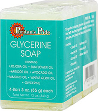 Glycerine Soap <p>This gentle moisturizing glycerine bar is specially formulated with the finest natural ingredients.  Along with glycerine, it contains jojoba, sunflower, apricot, avocado, sweet almond and wheat germ oils.  Our Glycerine Soap leaves your skin clean, soft, smooth and beautifully balanced.</p> 3 oz Bars  $8.49