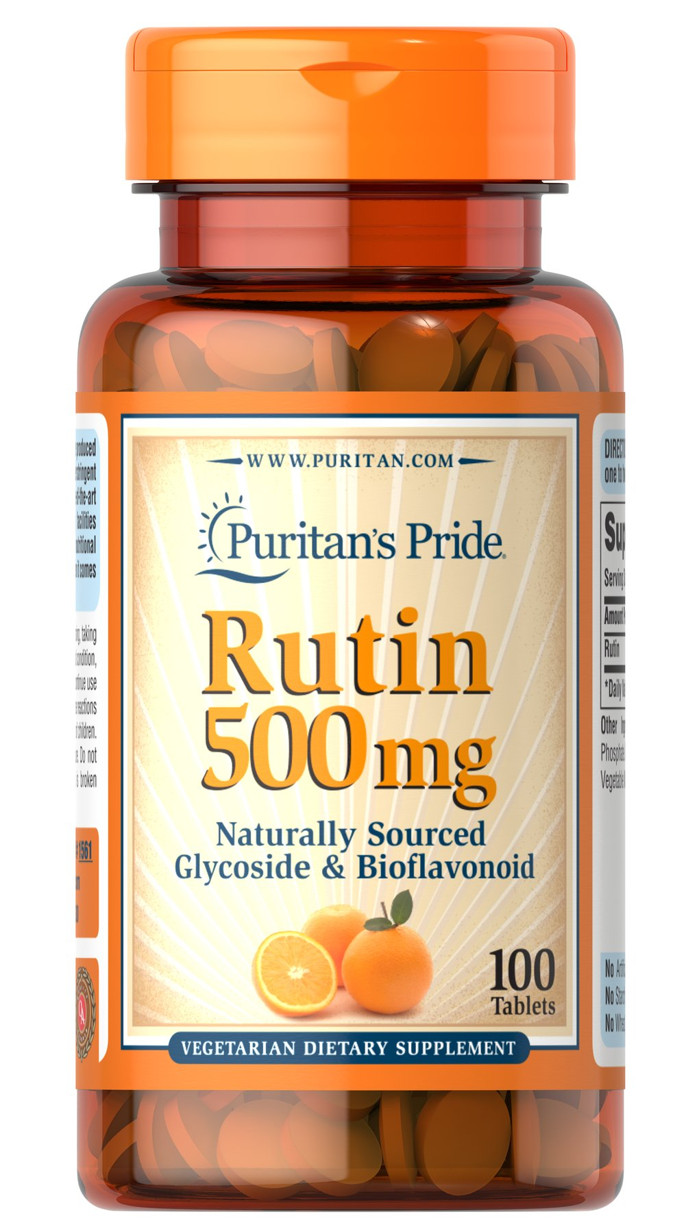 Rutin 500 mg <p>Bioflavonoids are water soluble compounds that can be found in such sources as citrus fruits, rosehips, and other plant materials.  For those that cannot tolerate Rose Hips or Ascorbic Acid, Rutin can be beneficial because of its antioxidant properties. </p> 100 Tablets 500 mg