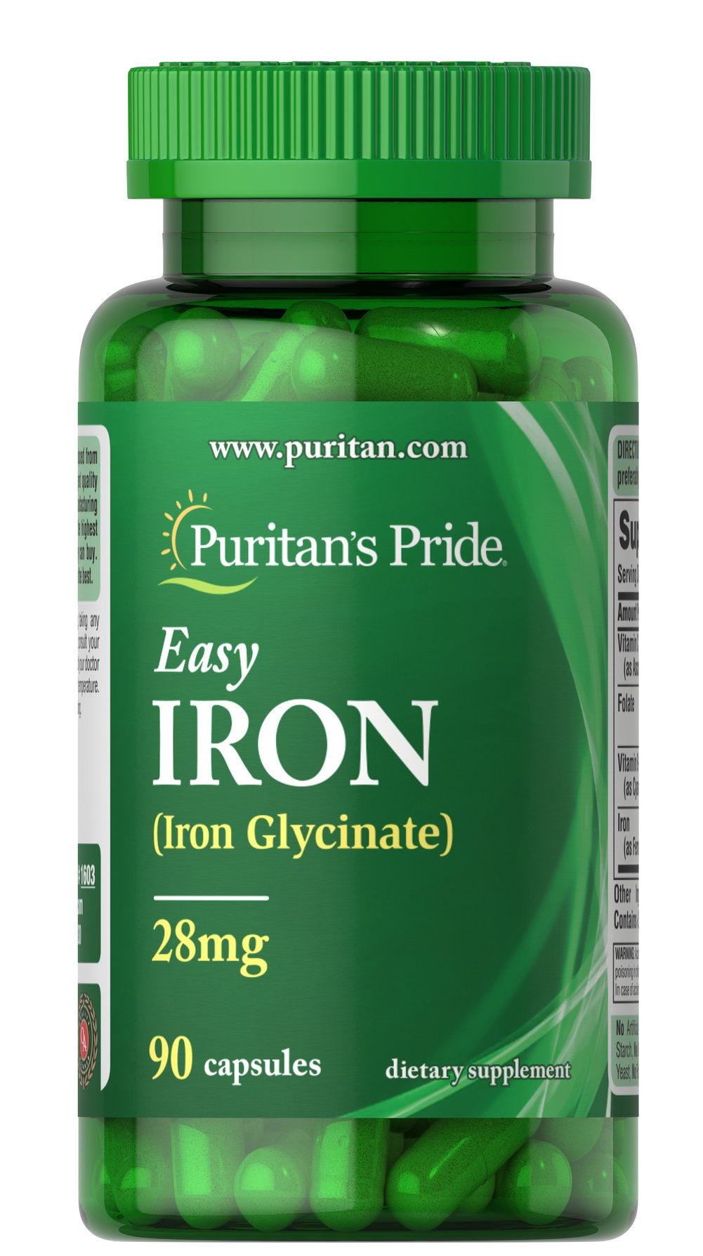 Easy Iron 28 mg (Iron Glycinate) <p>Supports Energy Utilization**</p><p>As an important dietary source of Iron, EASY IRON contains Iron Bis-Glycinate, a form of Iron that is gentle to your system.**  Iron is a necessary component of hemoglobin, the oxygen carrier in the blood and is also important for energy utilization.** </p> 90 Capsules 28 mg $10.49