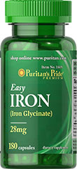 Easy Iron 28 mg (Iron Glycinate) <p>Supports Energy Utilization**</p><p>As an important dietary source of Iron, EASY IRON contains Iron Bis-Glycinate, a form of Iron that is gentle to your system.**  Iron is a necessary component of hemoglobin, the oxygen carrier in the blood and is also important for energy utilization.** </p> 180 Capsules 28 mg $16.99