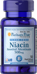 Flush Free Niacin 500 mg <p>Supports heart and cardiovascular wellness**</p><p>Promotes healthy circulation**</p><p>Contributes to energy metabolism**</p><p>Helps metabolize carbohydrates and protein**</p><p>Laboratory Tested</p> 50 Capsules 500 mg $8.99