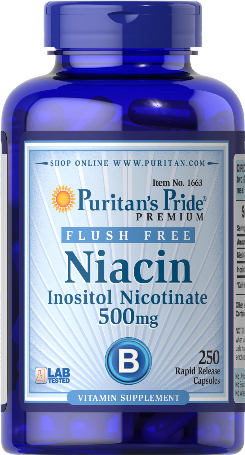 Flush Free Niacin 500 mg <p>Supports heart and cardiovascular wellness**</p><p>Promotes healthy circulation**</p><p>Contributes to energy metabolism**</p><p>Helps metabolize carbohydrates and protein**</p><p>Laboratory Tested</p> 250 Capsules 500 mg $35.99