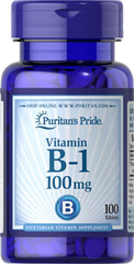 Vitamin B-1 100 mg <p>(Thiamine Hydrochloride)</p>  <p>Supports Energy Metabolism and Nervous System Health**</p> <p>Sugar, Starch & Preservative Free</p> 100 Tablets 100 mg $5.99
