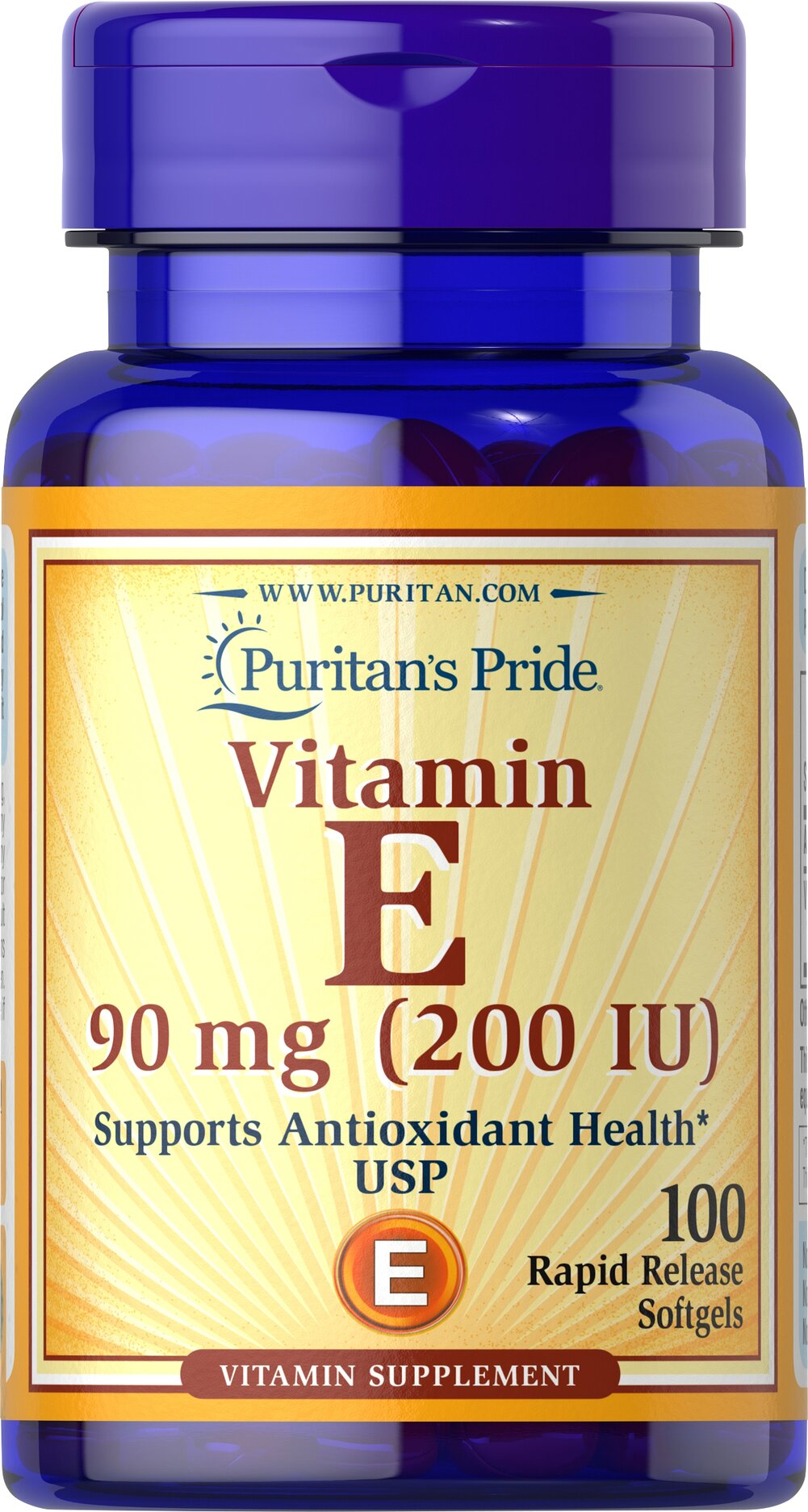 Vitamin E-200 IU <p>Features dl-Alpha Vitamin E, a synthetic form of Vitamin E</p> <p>Promotes heart and circulatory health**</p> <p>Contributes to healthy skin and immune function**</p> <p>Rapid release liquid softgels are easy to swallow</p> <p>One a day formula</p> 100 Softgels 200 IU $9.99