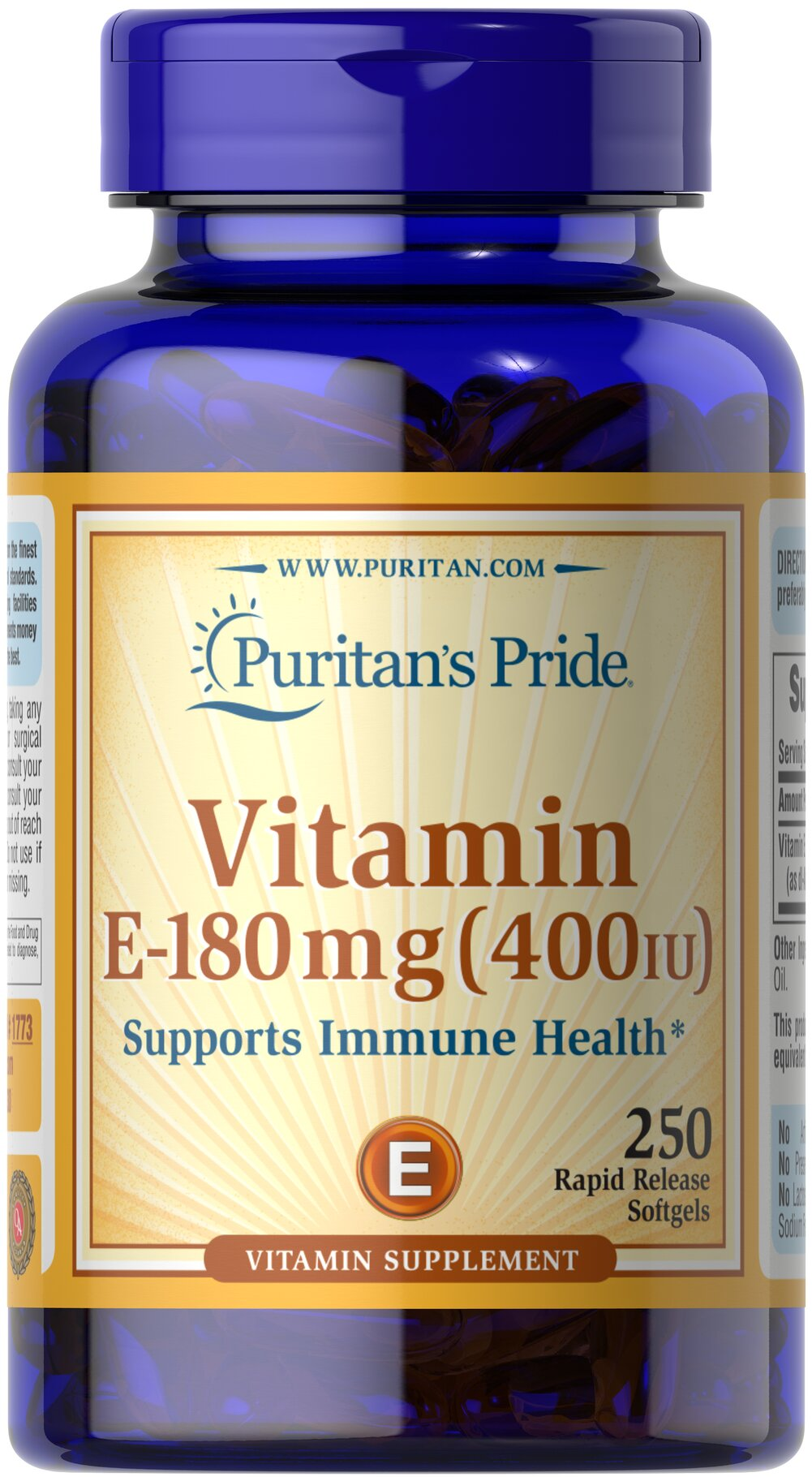 Vitamin E-400 IU <p>Features dl-Alpha Vitamin E, a synthetic form of Vitamin E</p><p>Promotes heart and circulatory health**</p><p>Contributes to healthy skin and immune function**</p><p>Rapid release liquid softgels are easy to swallow</p><p>One a day formula</p> 250 Softgels 400 IU $25.39