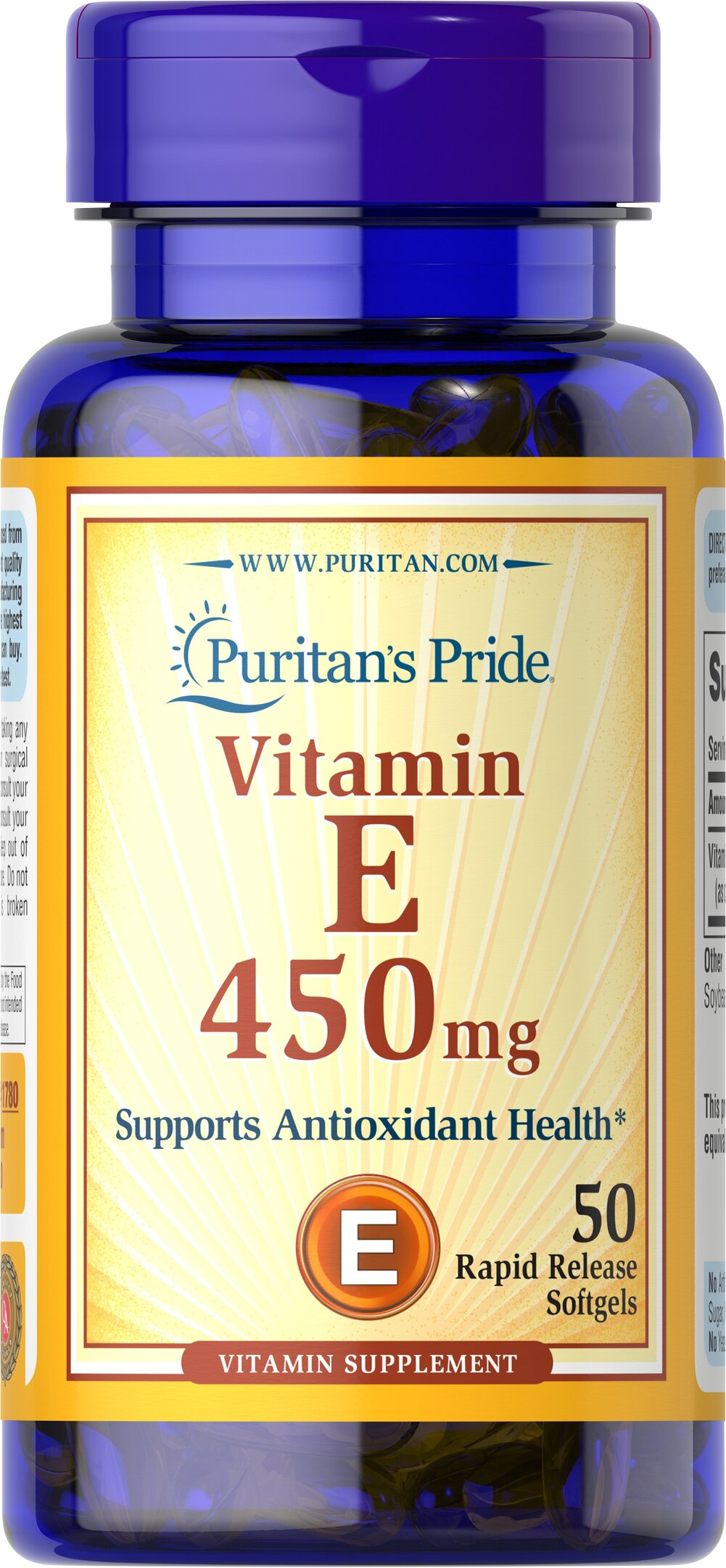 Vitamin E-1000 IU <p>Features dl-Alpha Vitamin E, a synthetic form of Vitamin E</p><p>Promotes heart and circulatory health**</p><p>Contributes to healthy skin and immune function**</p><p>Rapid release liquid softgels are easy to swallow</p><p>One a day formula</p> 50 Softgels 1000 IU $11.99