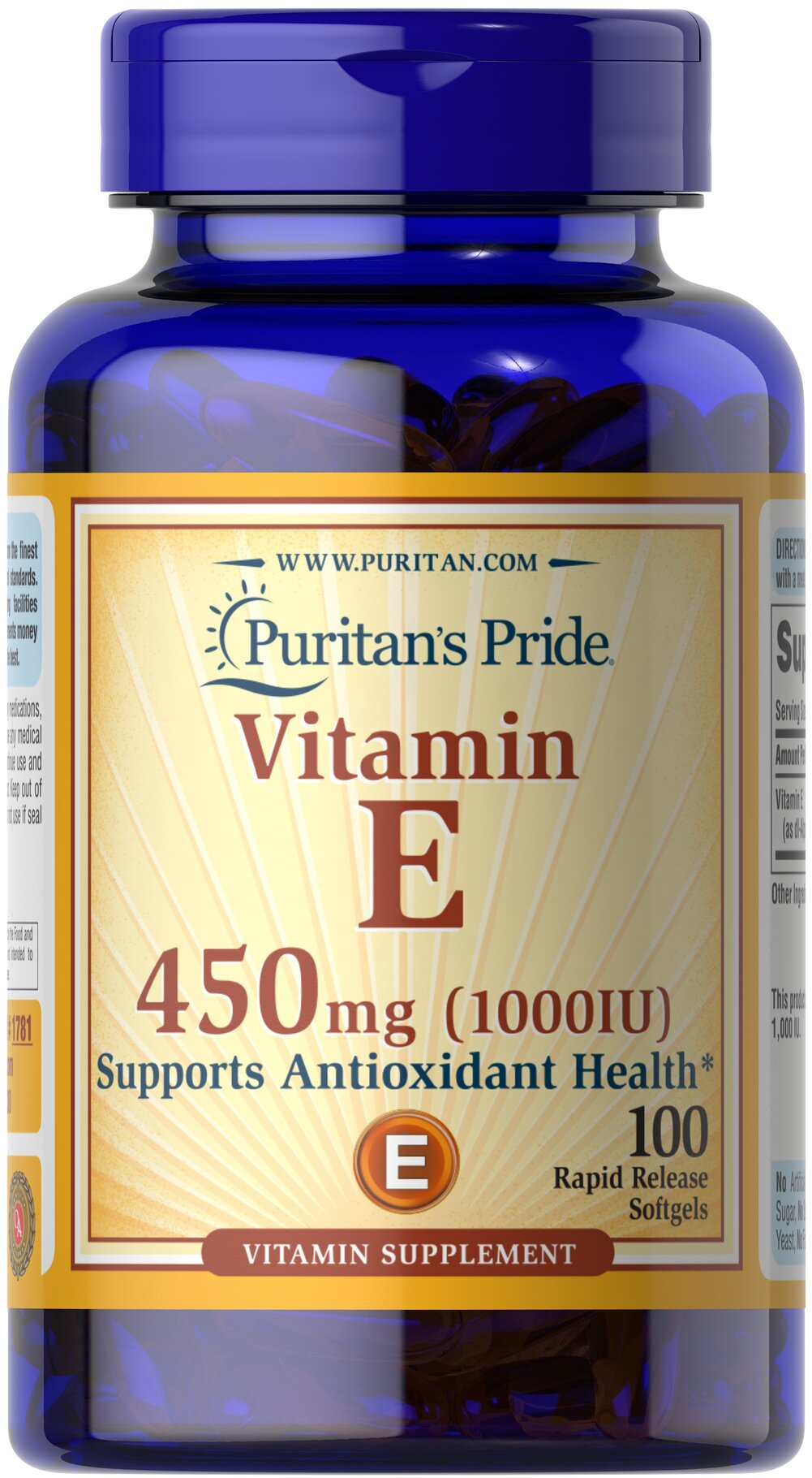 Vitamin E-1000 IU <p>Features dl-Alpha Vitamin E, a synthetic form of Vitamin E</p> <p>Promotes heart and circulatory health**</p> <p>Contributes to healthy skin and immune function**</p> <p>Rapid release liquid softgels are easy to swallow</p> <p>One a day formula</p> 100 Softgels 1000 IU $19.99